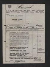 DORTMUND, Rechnung 1934, S.K.A. Motorenwerk AG Heemaf