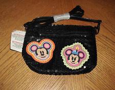 Disney Sequin Black Mickey Minnie Mouse Bag Purse New