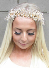 Gold Gypsophila Flower Headpiece Bridal Headband Garland Bead Hair Crown 1216