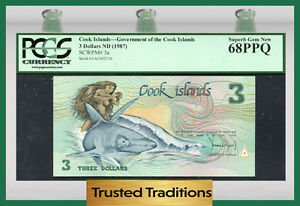 "TT PK 3a 1987 COOK ISLANDS 3 DOLLARS ""GOD TE-RONGO"" ""INA & SHARK"" PCGS 68 PPQ"