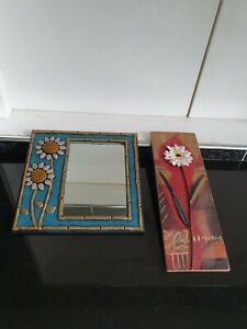 Small Mirror in Ceramic Frame with Sunflowers + Carol Robinson Flower Plaque