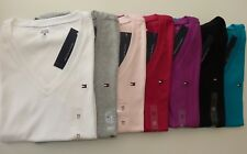 NWT Tommy Hilfiger Solid V-Neck Multi-Color Short Sleeve T-Shirts for women