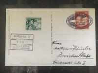 1939 Prague Germany Graf Zeppelin RPPC Postcard Cover to Zwickau Gelber Hund ZLW