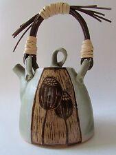 "Artisan Made Art Studio Pottery Large Teapot ""Poppy Pod"" Reed Handle"