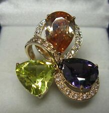 Dolly-Bijoux Bague T70 Sertie Gros Diamant Cz 15 mm Plaqué Or 18K MadeInFrance