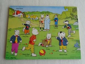 Vintage RUPERT BEAR Wooden Peg Puzzle Jigsaw Puzzle 1982