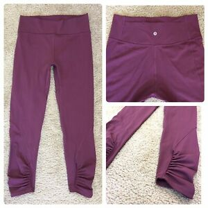 Lululemon Burgundy High Rise Ruched Ankle Cropped Leggings Size 10 Excellent!