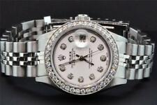 Rolex Oyster Perpetual Date Just Women's Stainless Steel Diamond Watch 1.50 CT