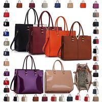 Large Women Designer Handbag Faux Patent Leather Ladies Shoulder Tote Laptop Bag