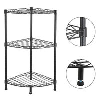 3-Tier Corner Shelf Display Rack Kitchen Bathroom Storage Wire Shelves Organizer