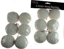 Set di 12 Bianco PALLA DI NEVE GLITTER Perline Albero di Natale palline/Decorazioni