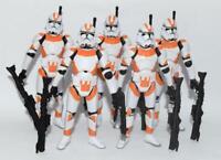 "Lot of 5 Star Wars Battle of Utapau Orange Clone Trooper 3.75"" Loose Figure"