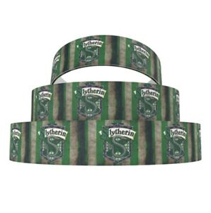 """By The Yard 1"""" Printed Harry Potter Green Slytherin House Grosgrain Ribbon Lisa"""