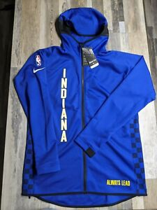 New Nike Indiana Pacers Sz L TALL City Edition Showtime THERMA Jacket Hoodie