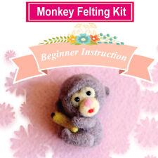 Monkey Needle Felting Kit Merino Wool Roving 8cm - Easy for Beginners