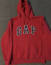 Vtg GAP Spellout Stitched Hoodie L Red Nautical Sailing USA 90s NYC Hip Hop 80s