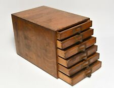 VINTAGE GLOBE WERNICKE STYLE WOOD OFFICE FILE BOX 6 DRAWER