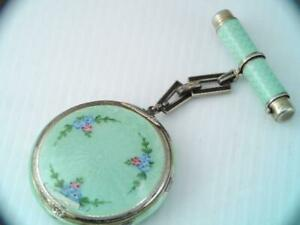 RARE ART DECO F&B STERLING GUILLOCHE ENAMEL COMPACT & LIP STICK SET $9.99