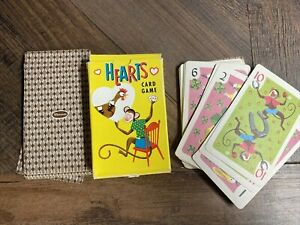 Vintage Whitman 1960's HEARTS Playing Cards Deck COMPLETE Monkey Cover