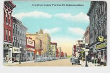 PPC POSTCARD INDIANA RICHMOND MAIN ST BUSINESS STORE FRONT ADVERTISING VIEW REXA