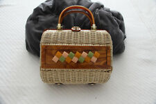 Vintage 1950's Wicker And Lucite Handbag Made in the Crown Colony of Hong Kong