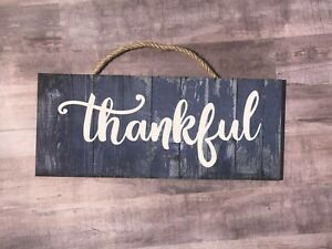 """Thankful Wooden Wall Sign.  Motivational, Home, House, Office  P223, 5""""x12"""""""