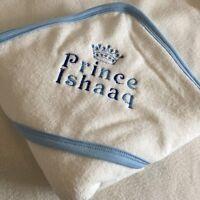 PERSONALISED BABY HOODED TOWEL +  NAME / PRINCE PRINCESS CROWN NEWBORN GIFT