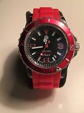 Authentic IKE Italy Lifestyle 100ft Sports Chronograph Watch w/ Red Rubber Strap