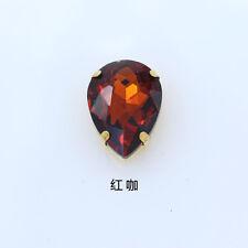 Teardrop color crystal glass sew on flatback rhinestones gold plate Multi sz&qty