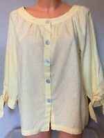 Max Studio Women's 3/4 Sleeve Yellow Buttoned Blouse Size M Medium Top 9701L39
