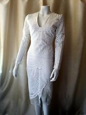 NWT Lavish Alice WHITE Sheer Embroidered Midi Sheath Dress Sheer 8 UK Small 3/4