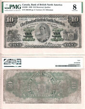 1889 $10 Bank of British North America with Queen Victoria, PMG VG8, CH#55-22-08