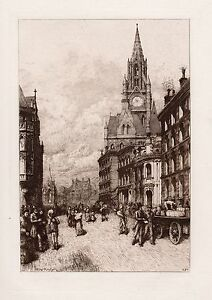 """WOW Original THOMAS RILEY 1800s Etching """"Manchester Town Hall"""" Framed SIGNED COA"""