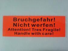 """10 Versandaufkleber Warnediketten in orange  """" Bruchgefahr ! nicht werfen ! """""""