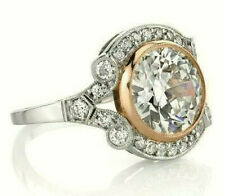 Vintage Retro Bezel Set Diamond Ring 1.95Ct Engagement Ring 14k White Gold Over