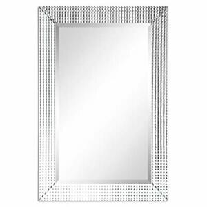 """Solid Wood Frame with 1""""-Beveled Center Modern Mirror 24"""" x 36"""", Clear."""