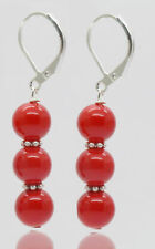 8mm Handmade Beautiful red color shell Pearl Silver Leverback Earring JE190