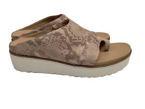 Dr Scholls MORRIS thong wedges tan reptile print 10 comfort sandal