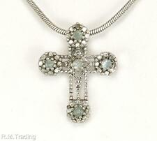 Estate 925 Sterling Silver .11ct Genuine Diamond & Blue Topaz Cross Pendant 1.6g