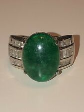 Ross Simons Sterling Silver 925 Green Jade CZ Ring Size 7.5