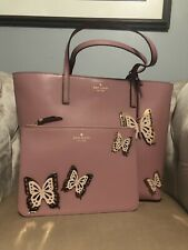 KATE SPADE Butterfly Little Len Leather Tote Bag Handbag Gia Pouch Set Peony New