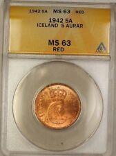 1942 Iceland 5A Five Aurar Copper Coin ANACS MS-63 Red (A)