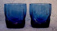 Set of 2 Collectible Vintage Cobalt Blue Blown Glass 14 oz.Tumblers