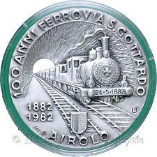 SVIZZERA 1982 Gotthard Bahntunnel Ferrovia S. Gottardo Airolo Medaglia ARGENTO