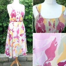NEW Long Tall Sally Floaty Summer Sun Dress Mustard Blush Pink Floral Print UK14
