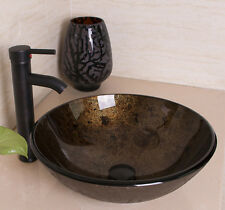 Bathroom Tempered Glass Vessel Sink Oil Rubbed Bronze Faucet Pop-up Drain Combo