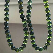 6mm Natural Green Tourmaline Crystal Clear Round Beads Bracelet AAAAA