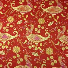 "RICHLOOM FANTASY INDIA RED LARGE BIRD QUAIL COTTON MULTIUSE FABRIC BY YARD 54""W"