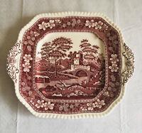 "Spode Tower Square Dinner Plate 11"" X 9"" C-1814-W Flowers Bridge Scene Vintage"