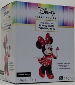Disney Gemmy 2 ft tall Christmas Minnie Mouse Lighted Tinsel Yard Sculpture NIB